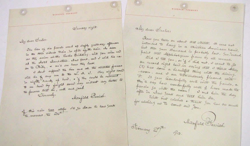 80: AUTOGRAPH/SGN. LETTER: (on 12) MAXFIELD PARRISH (18
