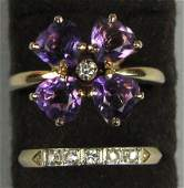508 on 2 14K YELLOW GOLD AMETHYST RING AND DIAMOND W