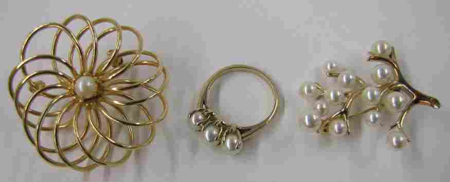 612: (on 3) 14K GOLD AND PEARL PINS AND 10K GOLD AND PE