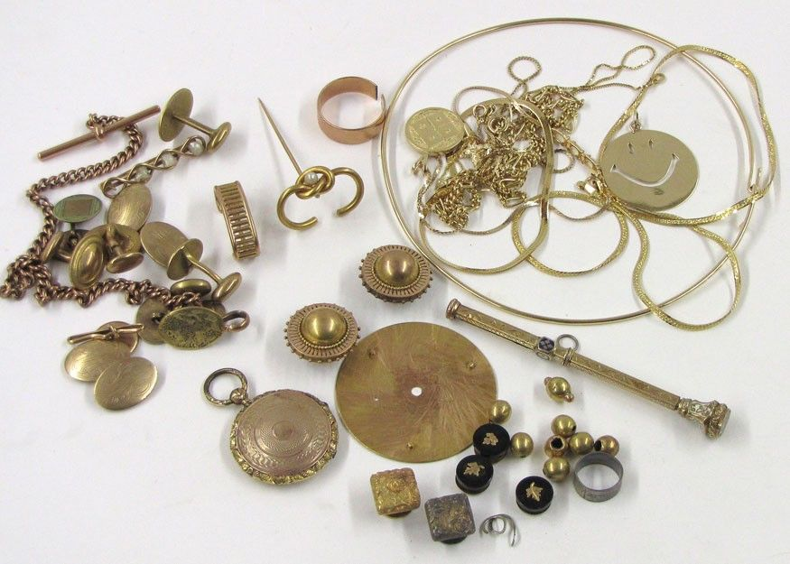 613: LOT OF 14K GOLD JEWELRY AND SCRAP ITEMS