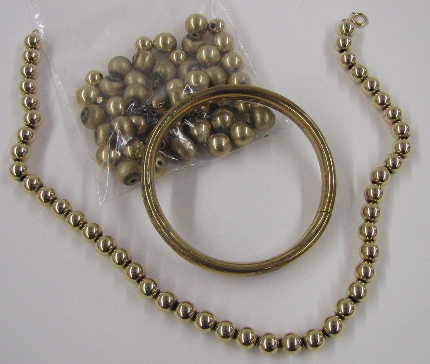 614: (on 3) 14K GOLD BEAD NECKLACES