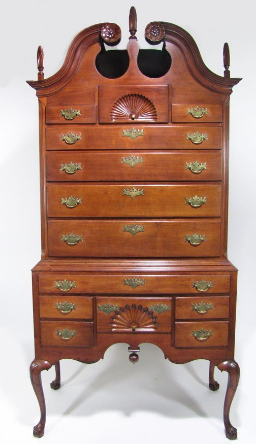 76: NEW ENGLAND CHIPPENDALE CHERRY BONNET-TOP HIGHBOY