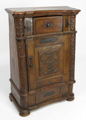 17TH C. ITALIAN CARVED INLAID WALNUT CABINET