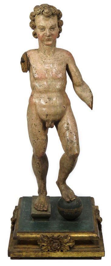 74: ITALIAN POLYCHROMED GESSO CARVED WOOD FIGURE