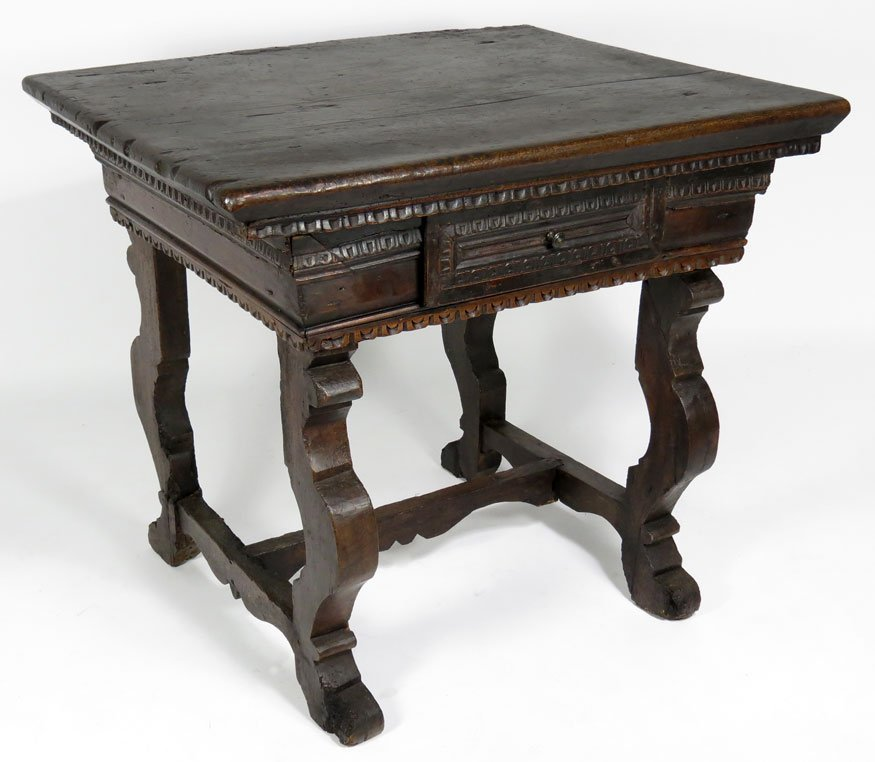 81: 18TH C. SPANISH CARVED WALNUT LIBRARY TABLE