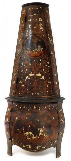 18TH C. ITALIAN IVORY INLAID WALNUT CORNER CABINET