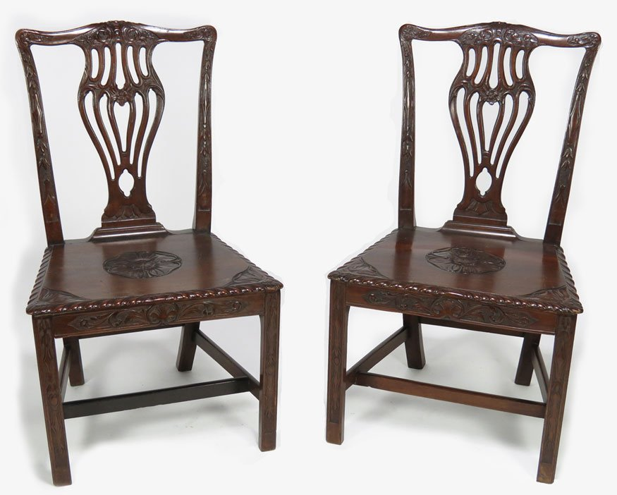 90: PAIR OF CHINA TRADE CARVED HARDWOOD SIDE CHAIRS