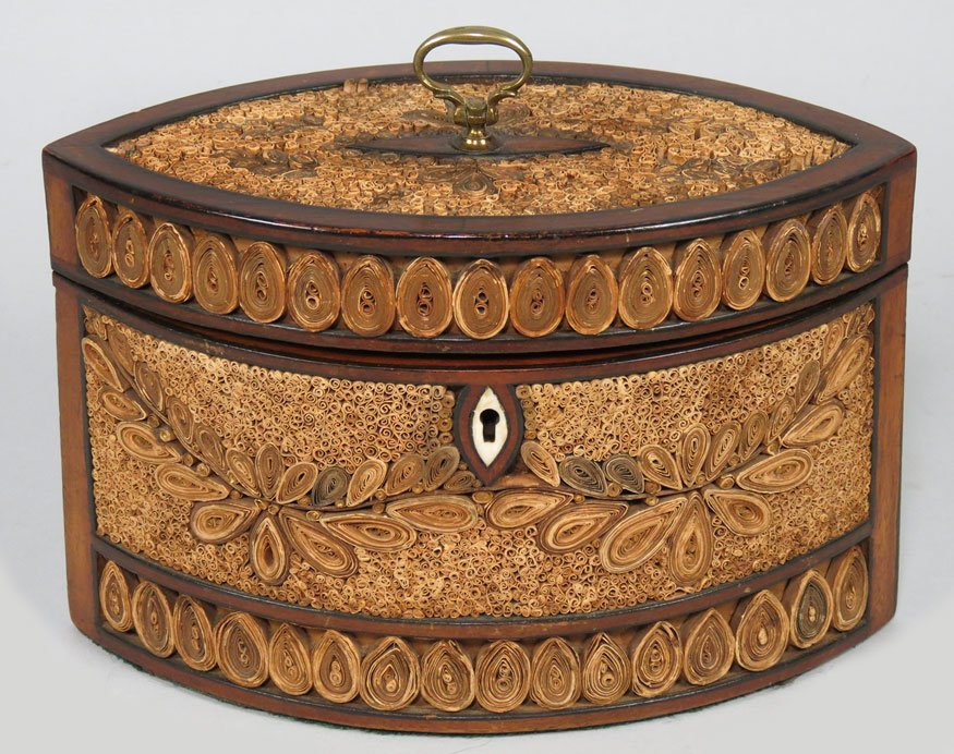 96: ENGLISH REGENCY ROLLED PAPER TEA CADDY