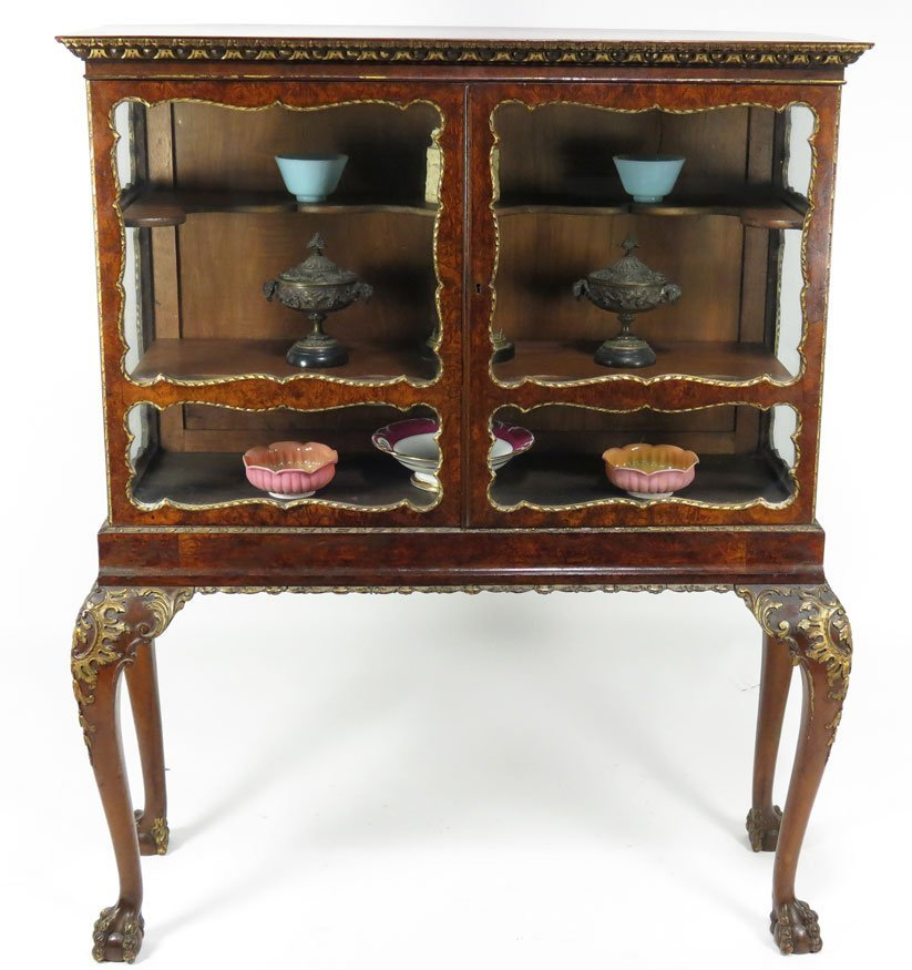 98: 19TH C. EDWARDIAN BURL WALNUT CURIO CABINET