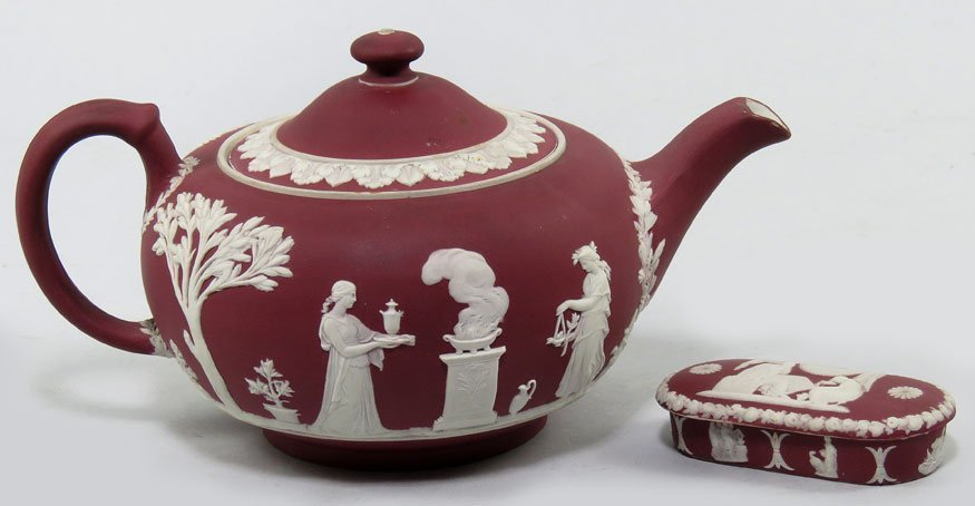 100: (on 2) MAROON WEDGWOOD ITEMS