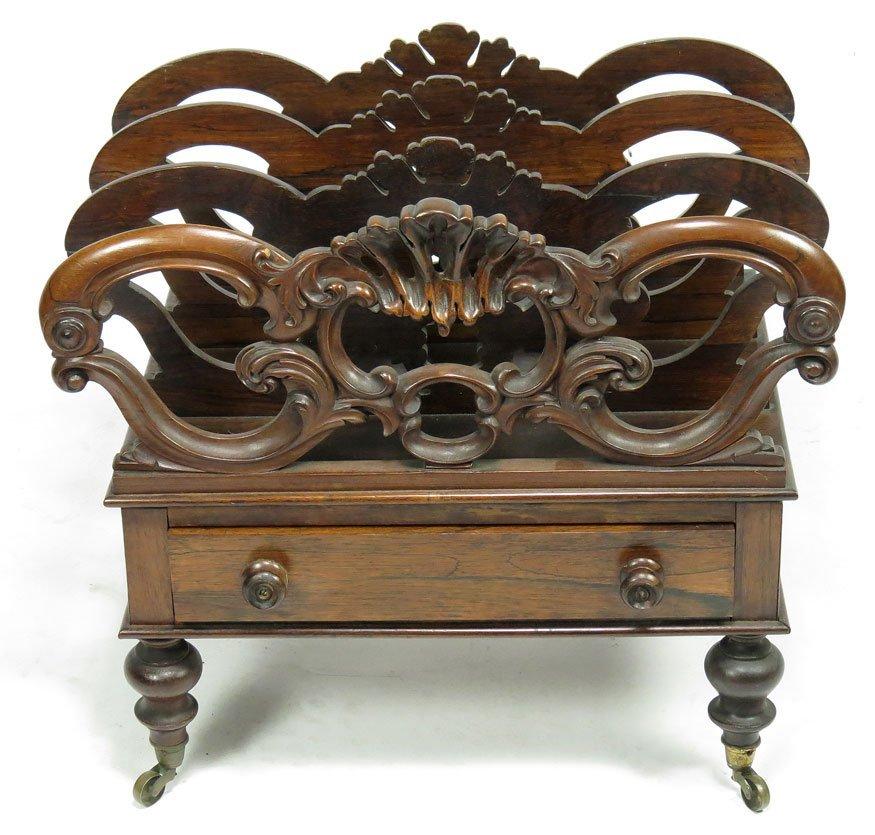 102: ENGLISH REGENCY CARVED ROSEWOOD CANTERBURY