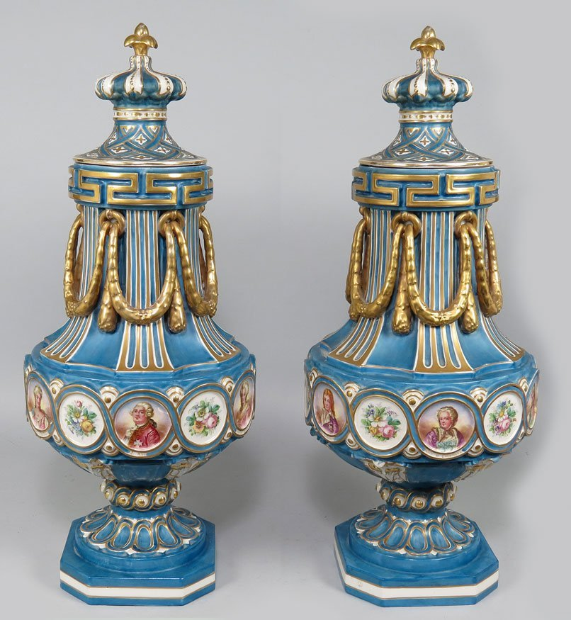103: LARGE PAIR OF 19TH C. SEVRES-STYLE  COVERED URNS