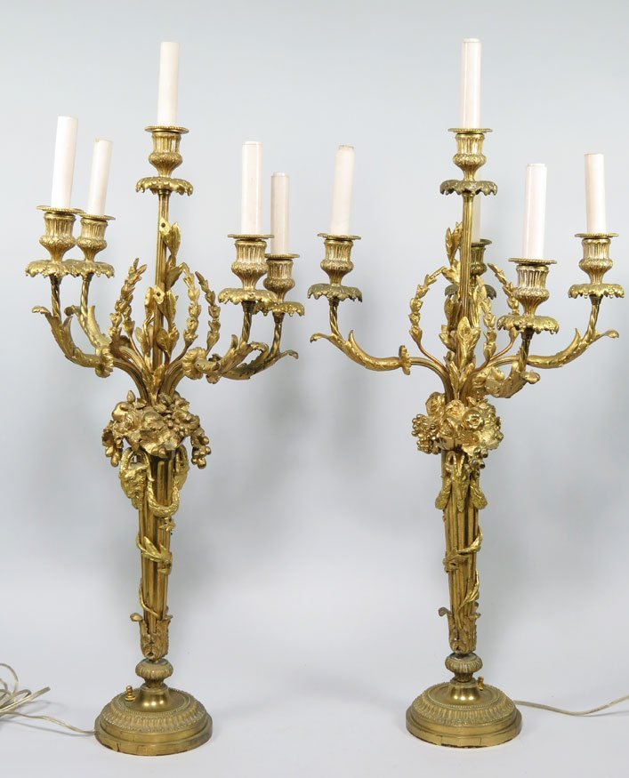 104: PAIR OF FRENCH DORE BRONZE 5-LIGHT CANDELABRA