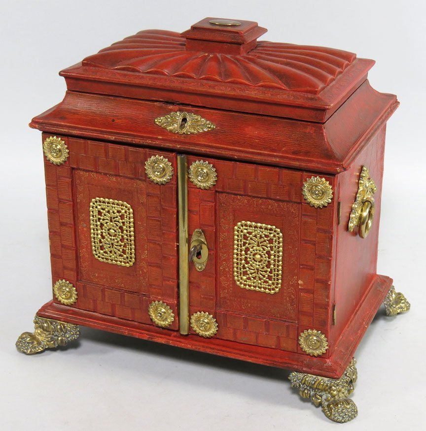 105: ENGLISH REGENCY LEATHER NECESSITIES TRAVEL CHEST