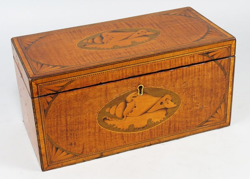 106: ENGLISH REGENCY SATINWOOD TRIPLE TEA CADDY