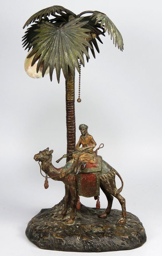 109: AUSTRIAN BRONZE COLD PAINTED 'ARAB' LAMP