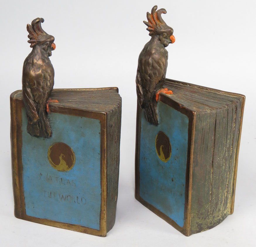 111: PAIR OF BRONZE BOOKENDS