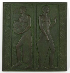 ART DECO FIGURAL BRONZE RELIEF PLAQUE