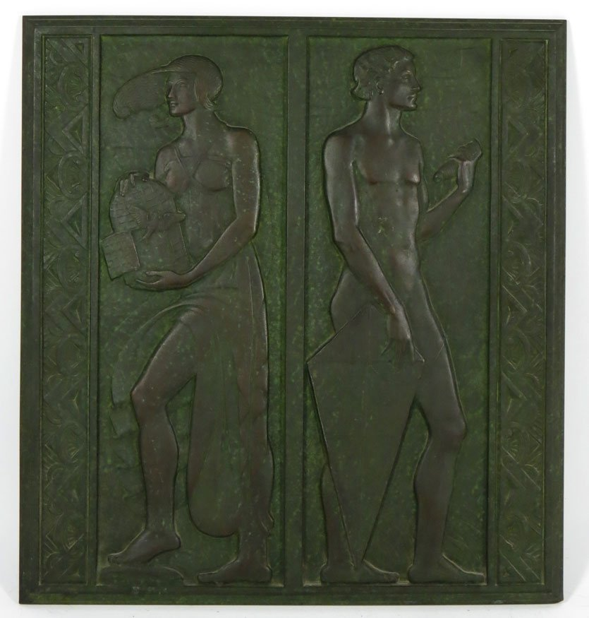 112: ART DECO FIGURAL BRONZE RELIEF PLAQUE