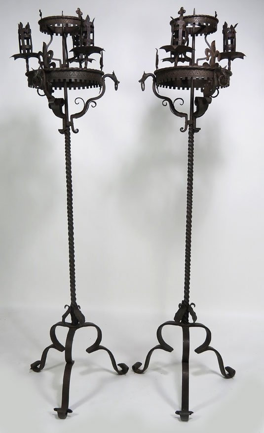 114: PAIR OF ITALIAN WROUGHT IRON TORCHERES