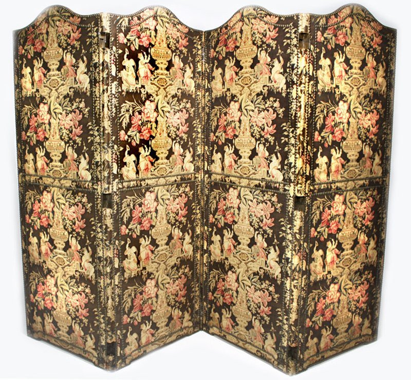 117: CHINTZ 4-PANEL FOLDING DRESSING SCREEN
