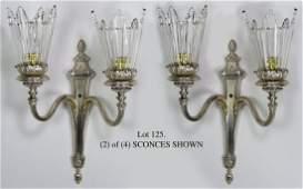 125: SET OF (4) GEORGIAN-STYLE PLATED SILVER 2-LIGHT SC
