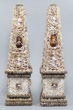 LARGE PAIR OF SHELL-MOUNTED OBELISKS