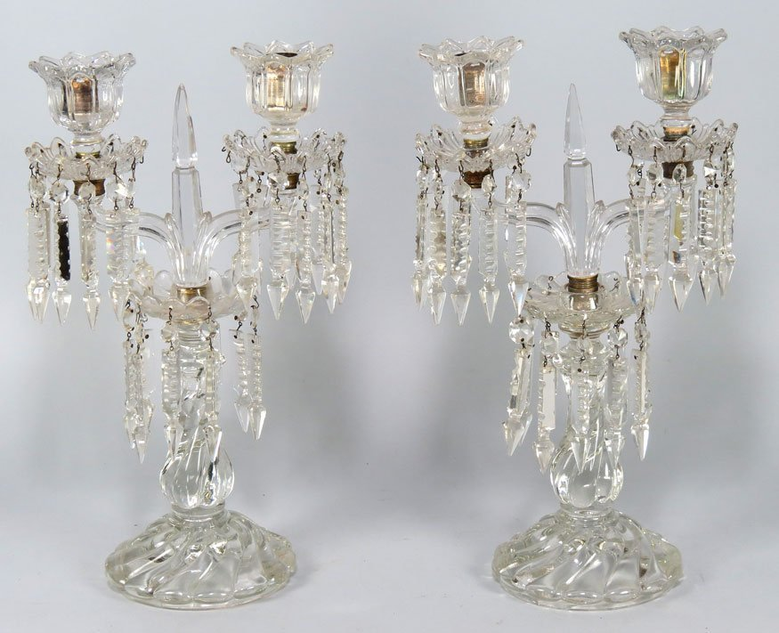 134: PAIR OF CRYSTAL 2-LIGHT CANDELABRUM