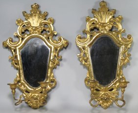 PAIR OF VENETIAN GILDED MIRRORED SCONCES