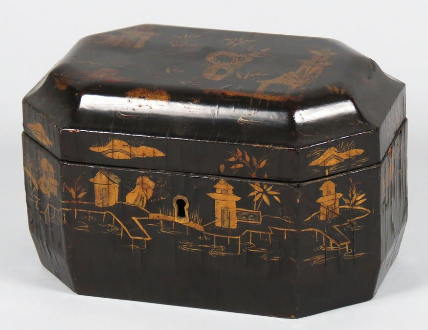 150: CHINESE EXPORT LACQUERED DOUBLE TEA CADDY