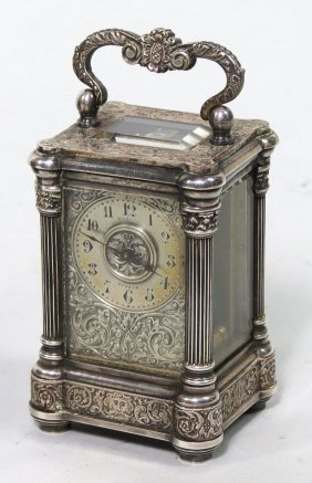 MINATURE 19TH C. PLATED SILVER CARRIAGE CLOCK