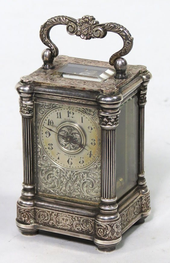 151: MINATURE 19TH C. PLATED SILVER CARRIAGE CLOCK