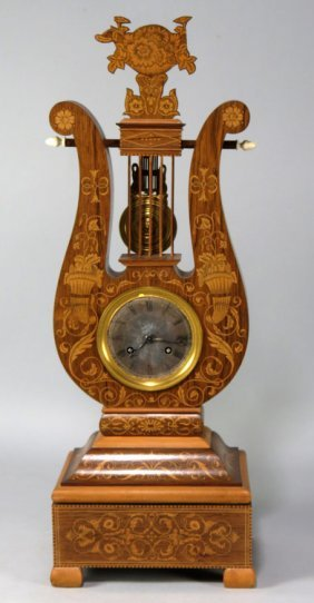 FRENCH EMPIRE MARQUETRY LYRE-FORM CLOCK