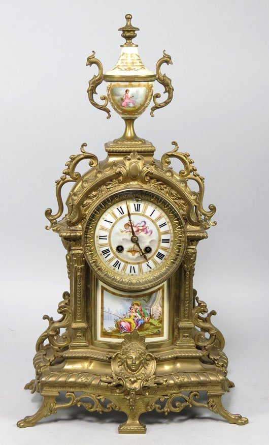 155: FRENCH LOUIS XV-STYLE BRONZE MANTEL CLOCK