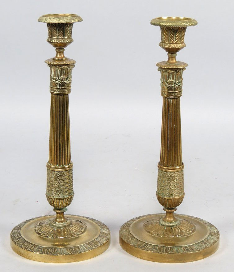 156: PAIR OF FRENCH EMPIRE BRASS CANDLESTICKS