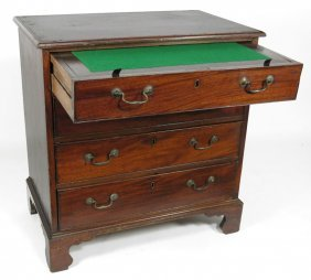 DIMINUTIVE GEORGE III MAHOGANY BACHELOR�S CHEST