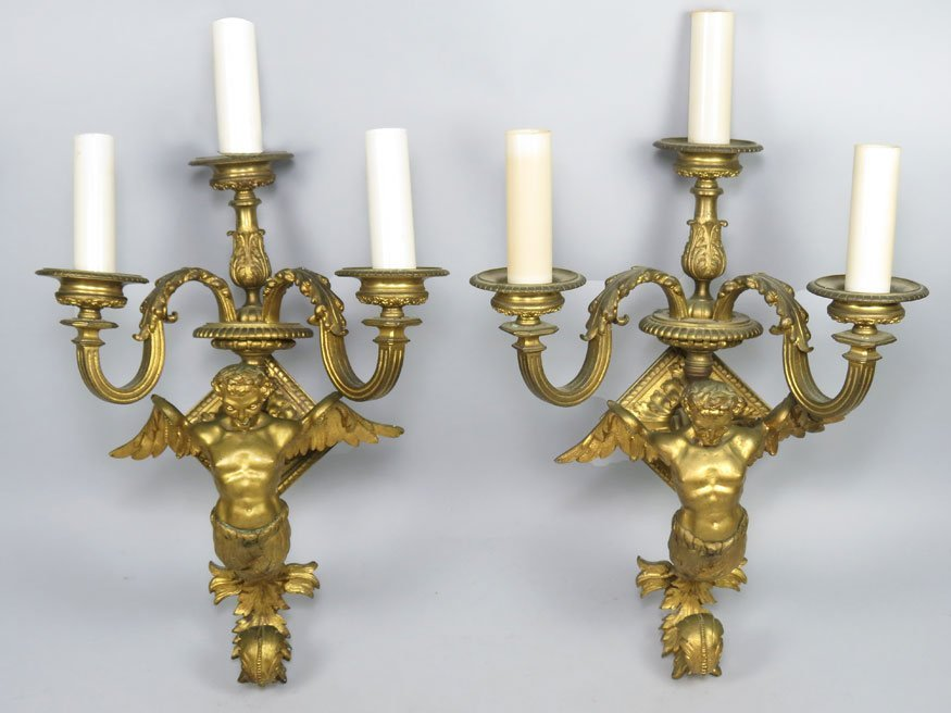 159: PAIR OF FRENCH BRASS FIGURAL 3-LIGHT WALL SCONCES