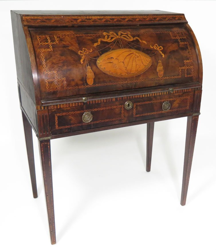 160: DUTCH NEOCLASSICAL MARQUETRY CYLINDER DESK