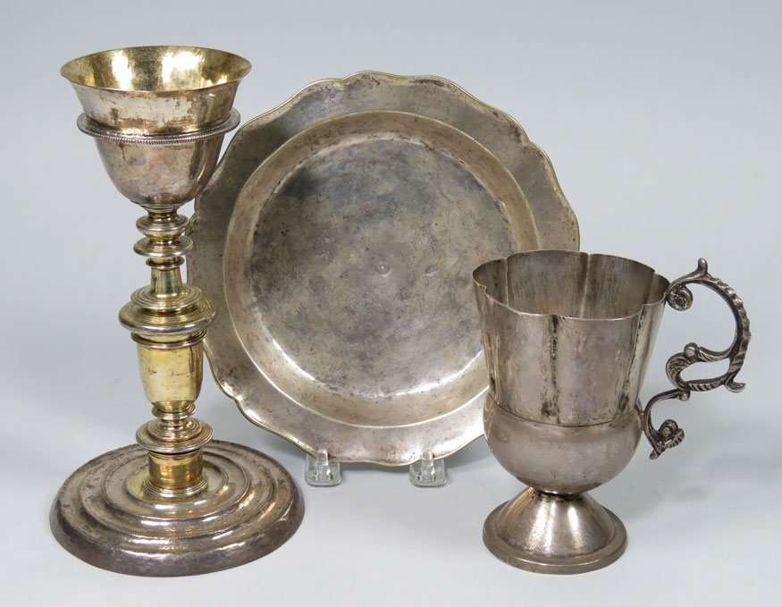 162: (on 3) 18TH C. SPANISH PLATED SILVER ITEMS