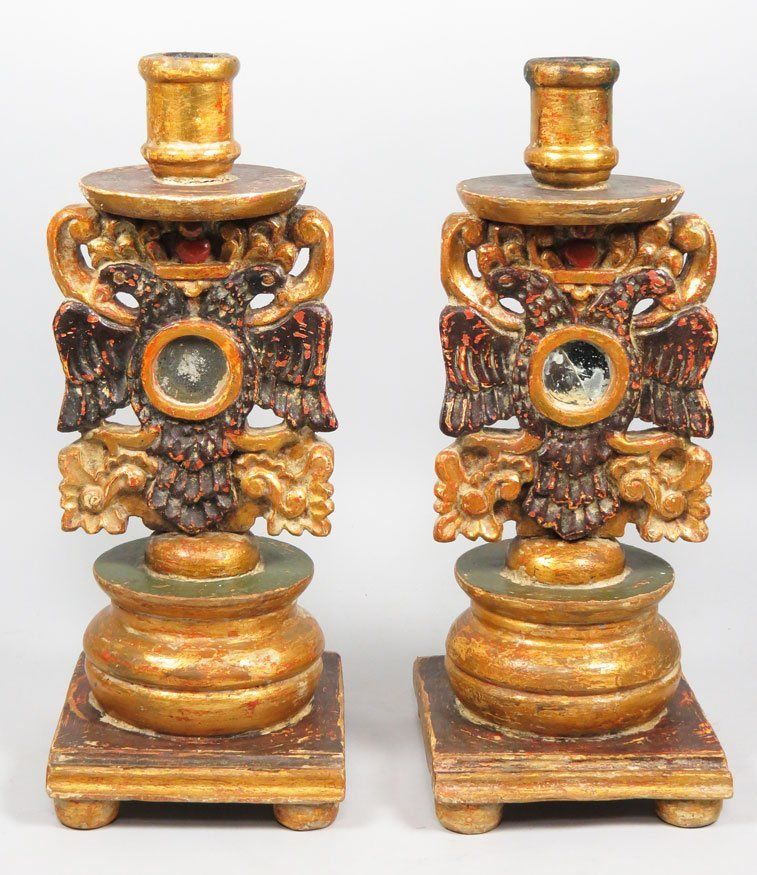 163: PAIR OF SPANISH COLONIAL CARVED GILT CANDLESTICKS