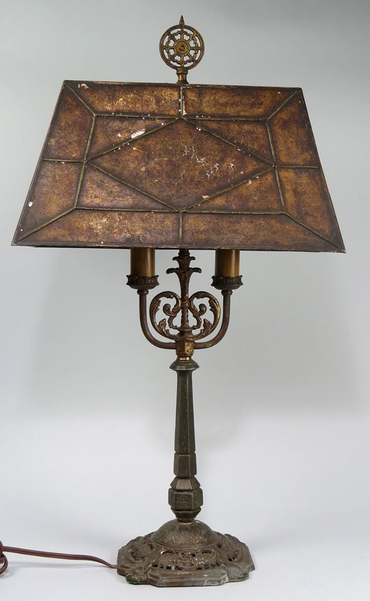 165: IRON TABLE LAMP WITH MICA SHADE