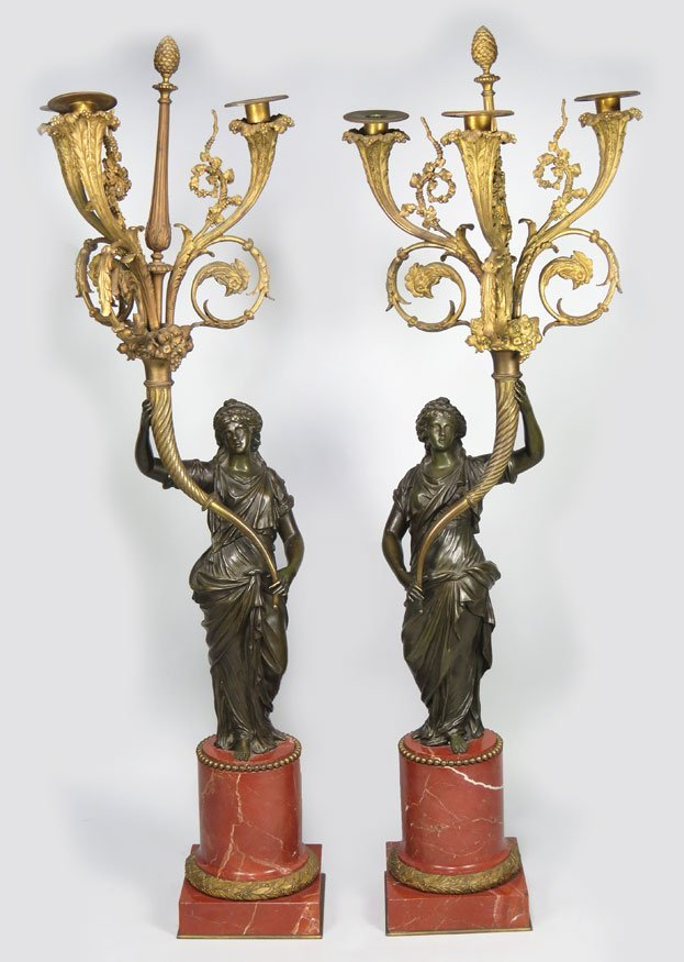 166: PAIR OF FRENCH BRONZE AND MARBLE CANDELABRA