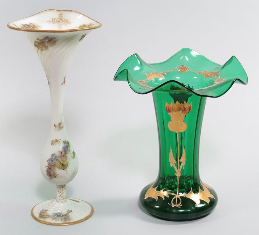 169: (2) 19TH C. GLASS VASES