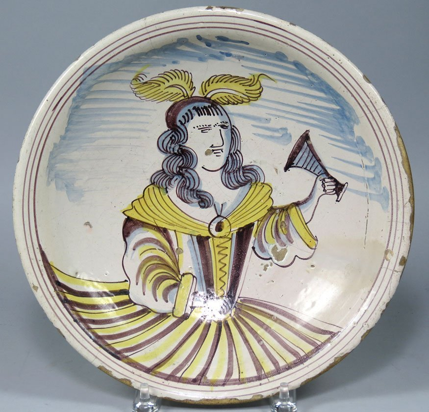 173: LATE 17TH C. DUTCH DELFT PORTRAIT PLATE