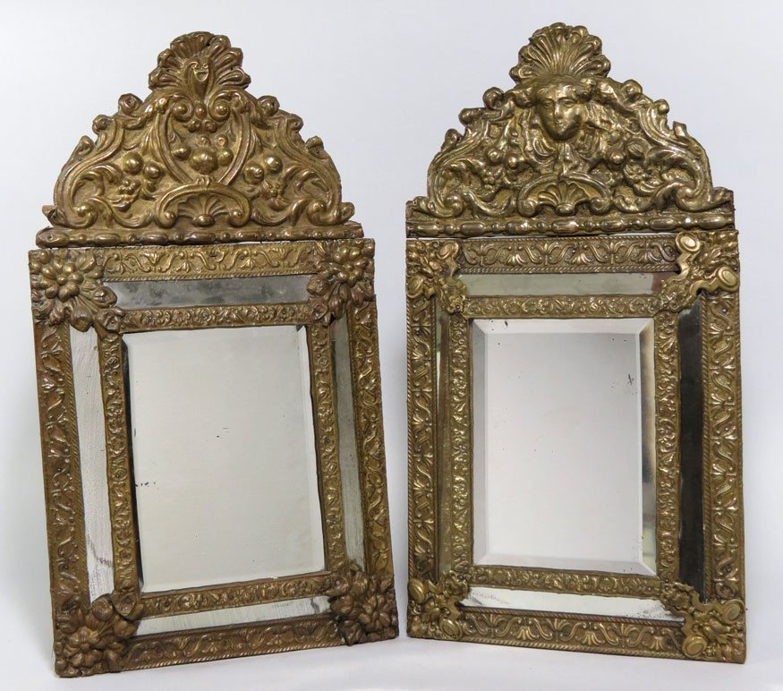 174: NEAR PAIR OF EMBOSSED BRASS WALL MIRRORS