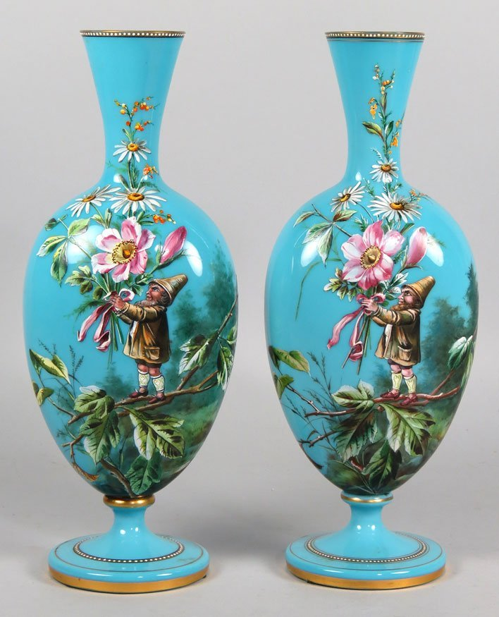 185: PAIR OF DECORATED OPALINE GLASS VASES