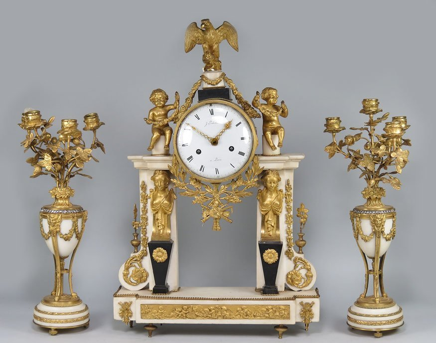 189: FRENCH WHITE MARBLE AND ORMOLU 3-PIECE CLOCK SET