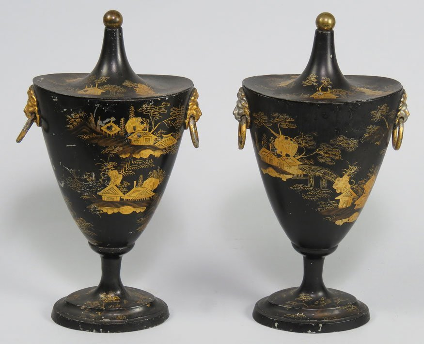 191: PAIR OF ENGLISH REGENCY TOLEWARE COVERED URNS