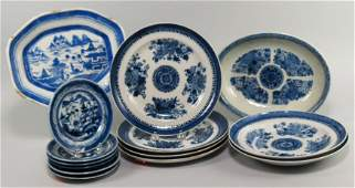 213: (on 14) BLUE AND WHITE CHINESE EXPORT PORCELAIN