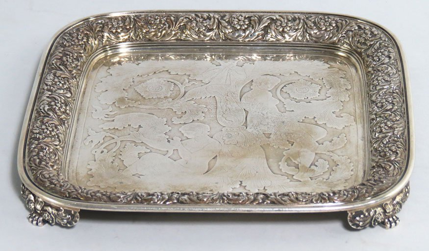 439: TIFFANY STERLING SILVER FOOTED TRAY